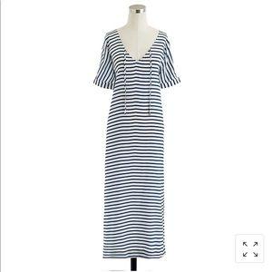 J Crew Silk Stripe Maxi Dress Beach Cover Up Med